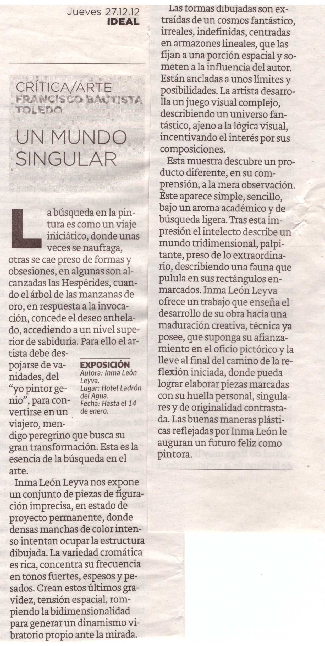 Art review of exhibition by Inma León Leyva (INLELEY)